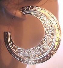 BOHEMIAN EGYPTIAN DESIGN GOLDTONE HOOP EARRINGS 2.5 INCH HOOPS pierced