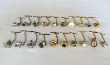 Lot of 20 Vintage Tie Tacks * Silver & Goldtones * Gemstones * Swank *  Nice