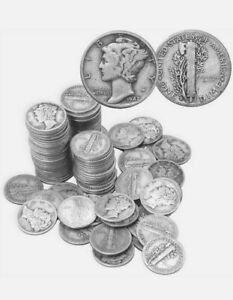 Roll of 50x Mercury Dime Lot -  1916-1945 - 90% Silver Dimes -  Survival Silver