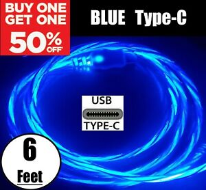 6FT LED Light Up Charger Charging Cable USB Cord for Samsung iPhone LG Moto