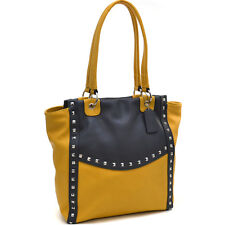 Dasein Tall Pyramid Studded Women Leather Tote Handbag Shoulder Bag Purse