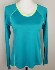 Avia Womens Active Tech Tee Long Sleeves Size Small S Teal Lime Green