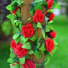 8Ft Fake Rose Garland Plant Silk Flower Rattan Vine Ivy Home Garden Decor Red ML