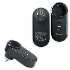 Transformador Cargador Muvit 2 USB 2.4A 12W + 1 Tipo C PD 18W+EU Plug negro