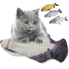 USB Electric Interactive Pet Cat Kitty Toy Wagging Fish Realistic Plush Toys UK