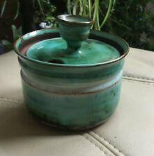 Llangollen Pottery lidded Pot. Multi greens. Makers mark imprinted on base. Mint