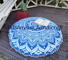 "Large Tapestry Mandala Round Floor Pillows 32"" Ethnic Cotton Bohemian Ottoman"