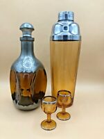Vintage Amber Liquor Set w/ Decanter, Shaker and 2 Glasses