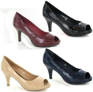 SALE LADIES SPOT ON PEEP TOE MID HEEL SYNTHETIC PATENT COURT SHOES F10038