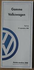 Catalogue Tarifs Volkswagen France 2000 - Polo Golf Bora Beetle Passat Sharan