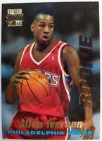 1996 96-97 TOPPS STADIUM CLUB Allen Iverson ROOKIE RC #R1, Insert 76ERS, Sharp!