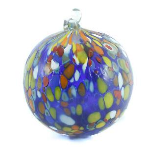 Murano Glass Art Xmas Christmas Decoration Ball Blue Red Hand Made Millefiori