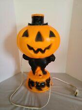 "VINTAGE Empire Blow Mold BLACK CAT PUMPKIN Plastic Halloween Light 14"""