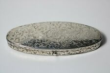 FINE ANTIQUE DATED 1843 STERLING SILVER ENGRAVED SPECTACLE EYEGLASS CASE BOX
