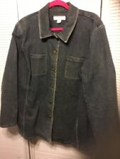 Real Clothes Salon Z Blue Stretch Denim Button Down Jacket With Pockets Size 20