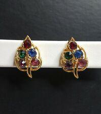 color Rhinestone Leaf Gold tone Vintage Pierced Post Earrings multi