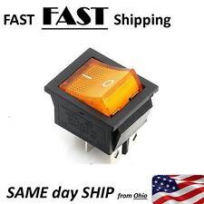 4 Pin ON/OFF 2 Position Rocker Switch DPST 110V 115V 120V  AMBER 20A  AC switch