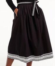 NEW JCREW Petite embroidered midi skirt SzPS In Black H7770