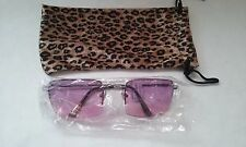 SUNGLASSES SHADED ORCHID LG. LENS SILVERTONE 1/2 FRAME LEOPARD SOFT BAG #078-F