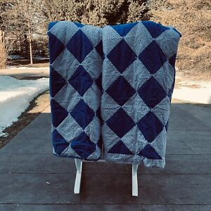"NEW Pair Vtg Handmade Yarn Tied Throw Blanket Blue White 62"" x 46"""