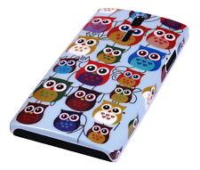 Hülle f Sony Xperia S LT26i Schutzhülle Tasche Case Cover Owl kleine Eule bunt
