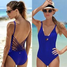ropa baño bañador azul Sexy Elegant Blue one piece Swimsuit beachwear monokini