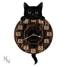 Nemesis Now GATTINO Tickin 'Orologio da parete 32cm BLACK CAT coda a pendolo