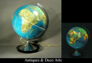 Vintage 1973 Terrestrial Globe - Lamp in French Language Editions Erasme
