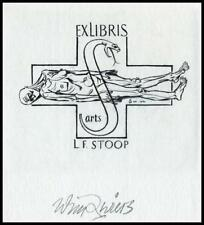 Zwiers Wim 1960 Exlibris C2 Bookplate Medicine Snake 1635