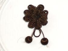 Antike Haar Brosche Biedermeier Haarschmuck aus Mädchenhaar um 1840 Handarbeit