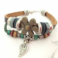 NEW BROWN LEATHER FLOWER AND BEAD WRAP AROUND CHARM BRACELET