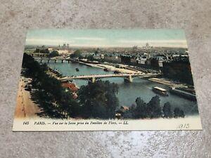 1900s postcard . vue sur la seine prise du pavillion de flore
