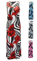 New Womens Ladies Plus Size Floral Print Full Length Summer Long Maxi Dress