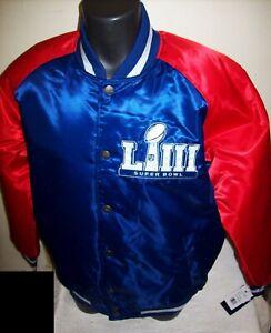 NFL SUPER BOWL LIII STARTER Commemorative Satin Jacket BLUE & RED Large