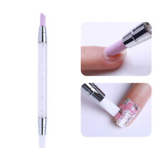 Nail Art Cuticle Remover Pen Double Head Quartz Silicon Press Sticker Stick Tool