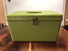 Vintage Wilson Wil-Hold Avocado Green Plastic Sewing Basket Box 2 Trays