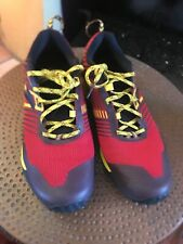 Brooks Mens Cascadia 13 Red Yellow Ebony Trail Running Shoes Size 11.5 D