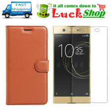 Brown For Sony Xperia XA1 Ultra Wallet Case + Tempered Glass Screen Protector