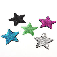 Star pentagram Sequins Embroidery Iron sew on patch applique DIY clothing 7.5cmB