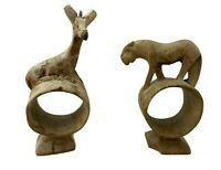 """Giraffe & Lioness Wooden Hand-Carved Napkin Holders - 4.75"""" & 4"""" Tall"""