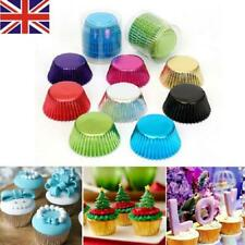 100PCS Foil Metallic Paper Coloured Muffin Baking Cake Cup Cupcake Cases Liners
