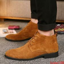 British Mens lace up Suede Pointed Toe High Top outdoor casual Ankle Boots Shoes