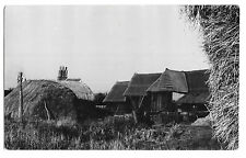 Haystacks & Thatched Threshing Barn on Farm, Unknown Location RP PPC, Unposted