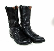 "Authentic Black "" LUCCHESE "" Men's 7.5 B Leather Western Roper Cowboy Boots"