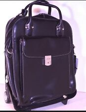 MCKLEIN la Grange Black Women's Leather Wheeled Carry On Laptop Office Bag