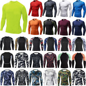 Mens Long Sleeve Compression Under Base Layer T-Shirts Gym Sports Joggers Tops