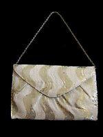 Silver Satin Sequin embellished Envelope Clutch Bag Evening handbag purse BNWT