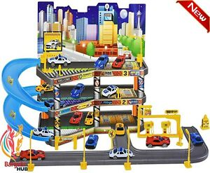 Childs Car Park Parking Garage Petrol Station With Die Cast Cars Play Set Toy