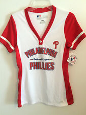 LADIES MLB PHILADELPHIA PHILLIES BASEBALL WHITE & RED TOP  TX3 COOL FABRIC  SZ S