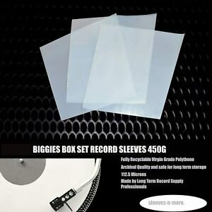 "10 12"" Inch LP Vinyl Box Set 450g Gauge Plastic Outer Polythene Record Sleeves"